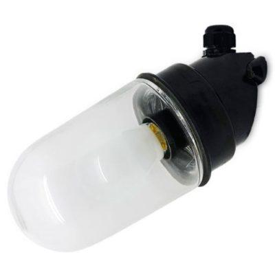 Wand stallamp met transparant stolp zwart bakeliet