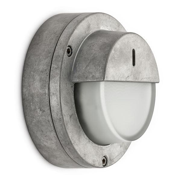 Wandlamp aluminium met halfscherm for Stoere industriele wandlampen